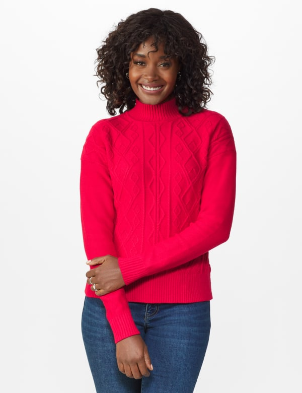 Roz & Ali Funnel Neck Cable Sweater - Red - Front
