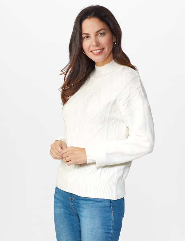 Roz & Ali Funnel Neck Cable Sweater - Winter White - Front