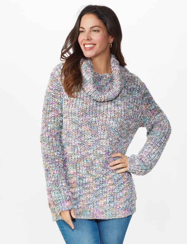 Roz & Ali Novelty Cowl Neck Pullover Sweater - Multi - Front