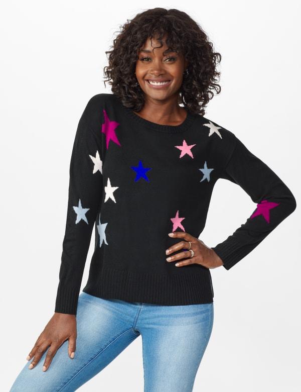 Roz & Ali Stars Pullover Sweater - Misses - Multi - Front