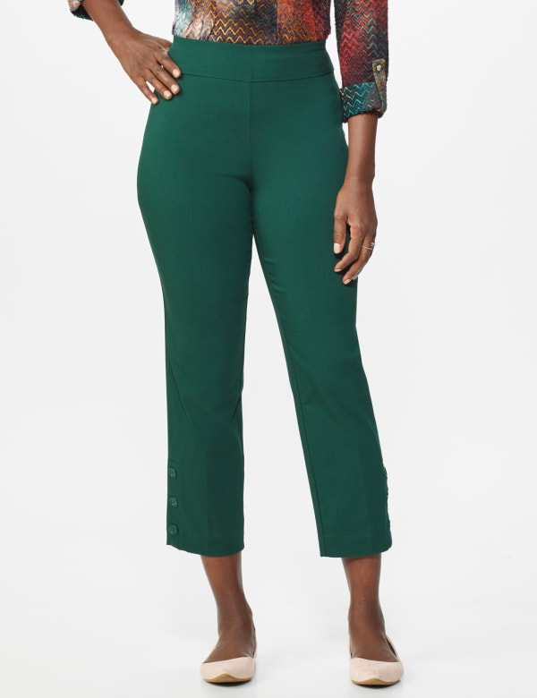 Superstretch Ankle Pants with Button Detail at the Hem