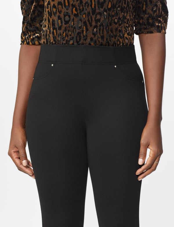 Ponte Pull On Legging with Faux Pockets and Rivet Trim