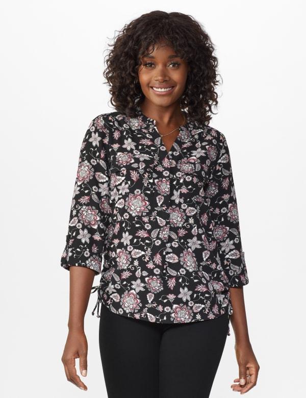 Roz & Ali Floral Side Tie Popover Blouse - Black/Mauve - Front