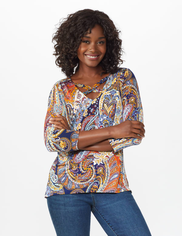 Westport Paisley Knit Top - Misses - Multi - Front