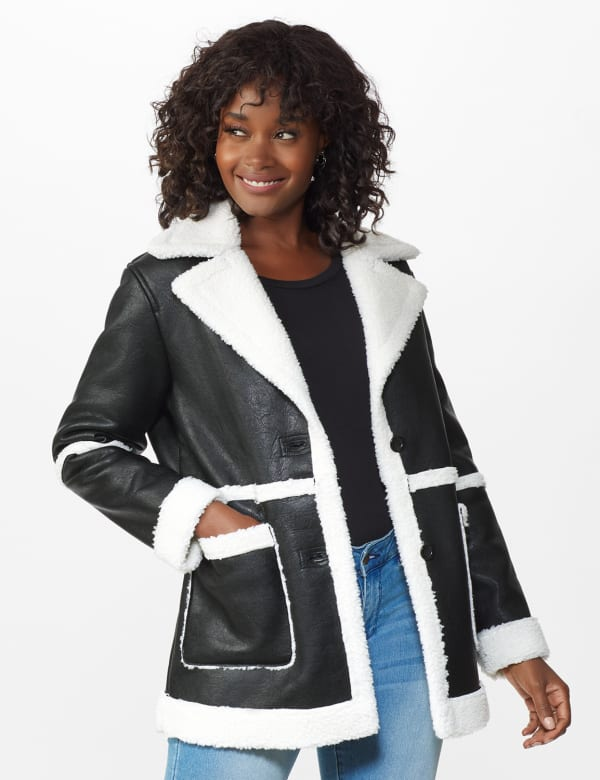 Sherpa Bonded Faux Leather Coat