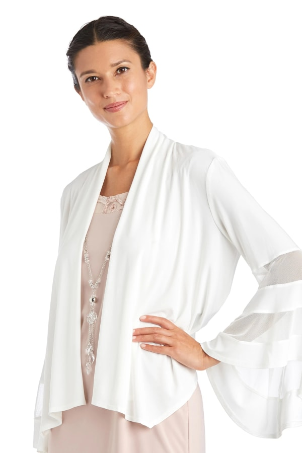 Draped, Open Jacket with Full Sleeves and Sheer Inserts - Ivory - Front