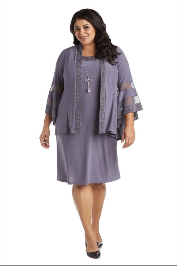 Two-Piece Necklace Sheath Dress & Jacket - Plus - Charcoal - Front