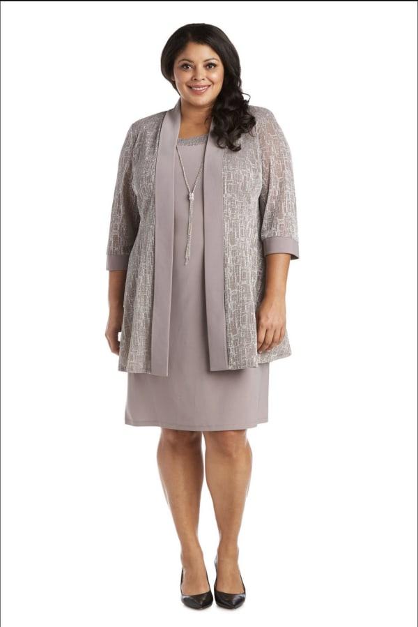 Two-Piece Metallic Knit Jacket Dress -Plus - Champagne - Front