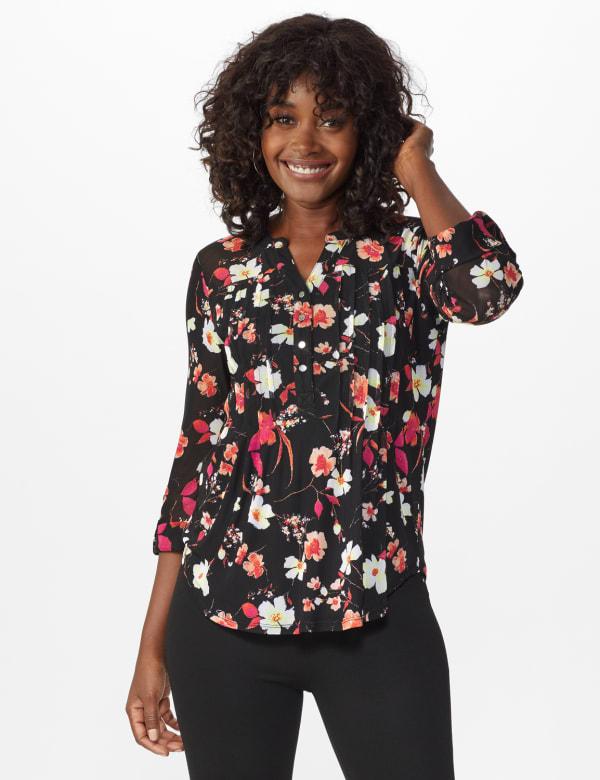 Roz & Ali Floral Pintuck Popover - Black Multi - Front