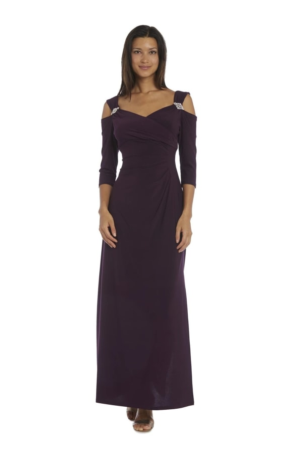 Column Evening Gown with Shoulder Cutouts and Diamante Embellishments - Plum - Front