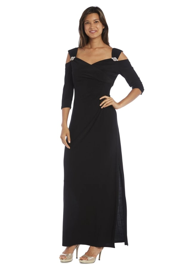 Column Evening Gown with Shoulder Cutouts and Diamante Embellishments - Black - Front