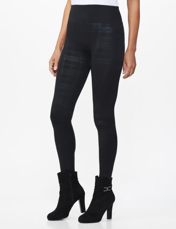 Elo Sportswear Black Plaid Legging - Black Plaid - Front