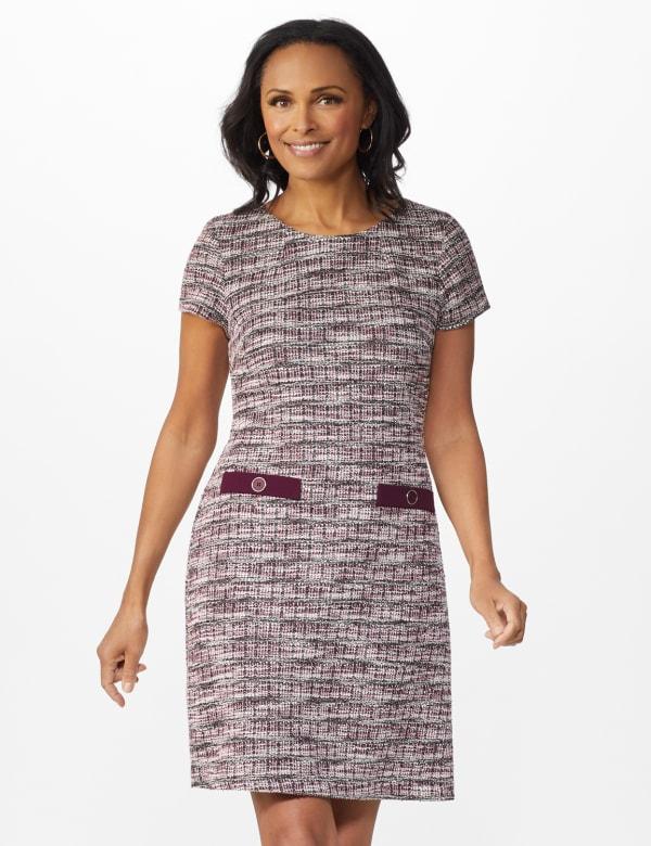 Boucle Sheath Dress - Dark Plum - Front