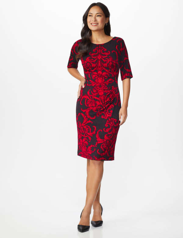 Scroll Sheath Dress - red - Front