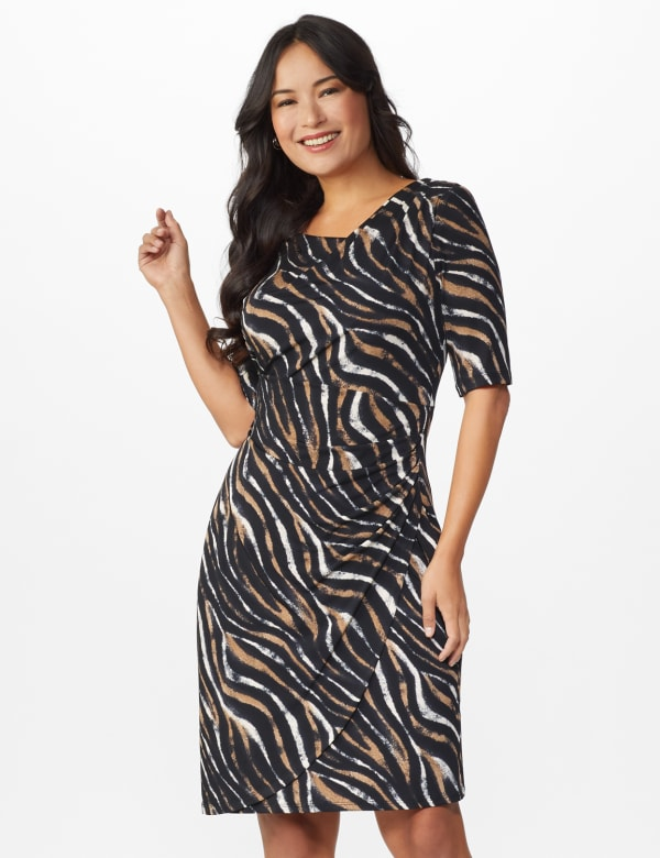 Zebra  Faux Wrap Dress - Black - Front
