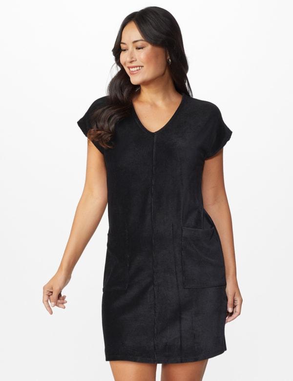 Patch Pocket Sheath Dress - black - Front
