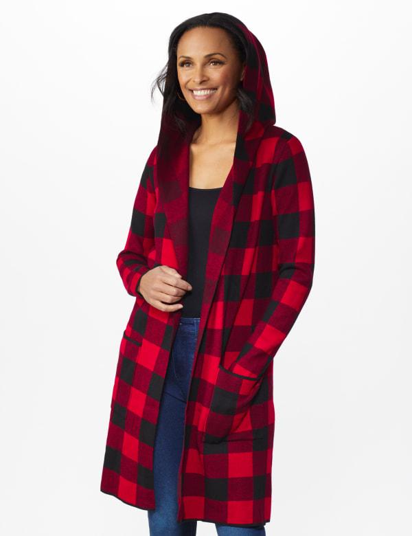 Roz & Ali Buffalo Plaid Sweater Coat - Red/Black - Front