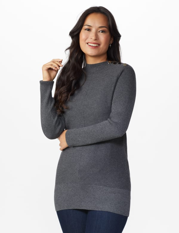 Roz & Ali Ottoman Mock Neck Hi-Lo Pullover Sweater -Charcoal Heather - Front