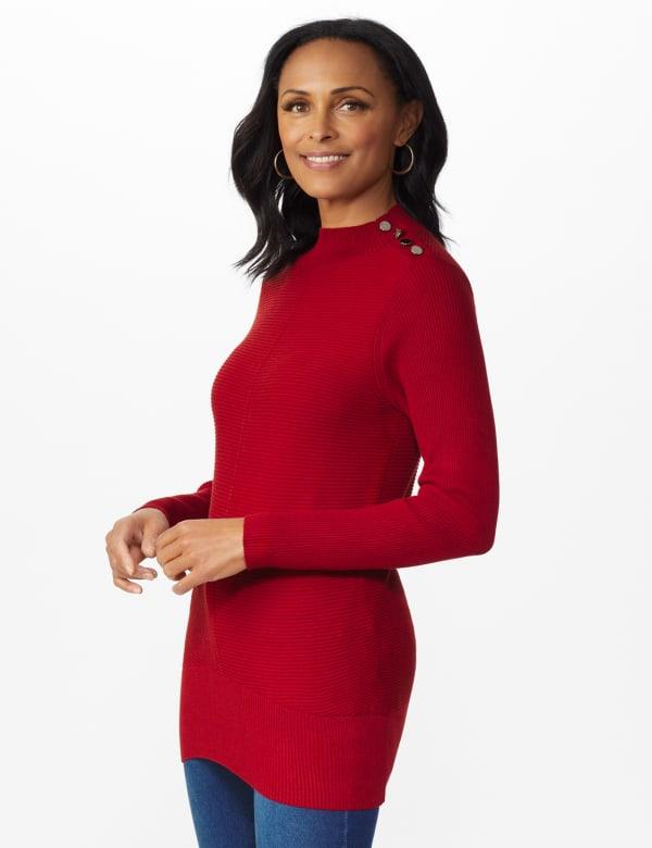 Roz & Ali Ottoman Mock Neck Hi-Lo Pullover Sweater - Spice Cake - Front