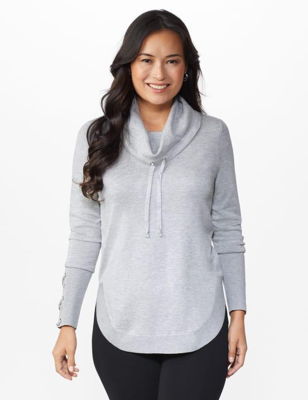Westport Grommet Trim Pullover Sweater - Grey Heather - Front