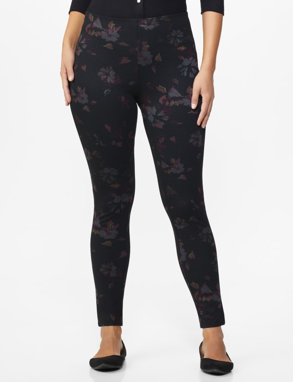Ponte Floral Print Pull on Legging with Interior Elastic Waistband - Black Floral - Front