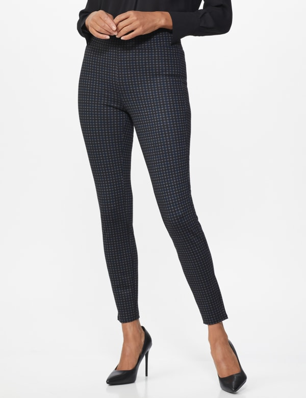 Ponte Pattern Pull on Slim Legging - Black check - Front