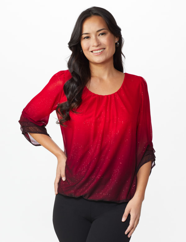 Roz & Ali Glitter Ombre Bubble Hem Blouse - Red/Black - Front