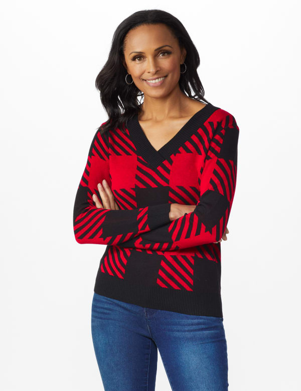 Roz & Ali Buffalo Plaid Pullover Sweater - Black/ Belldini Red - Front