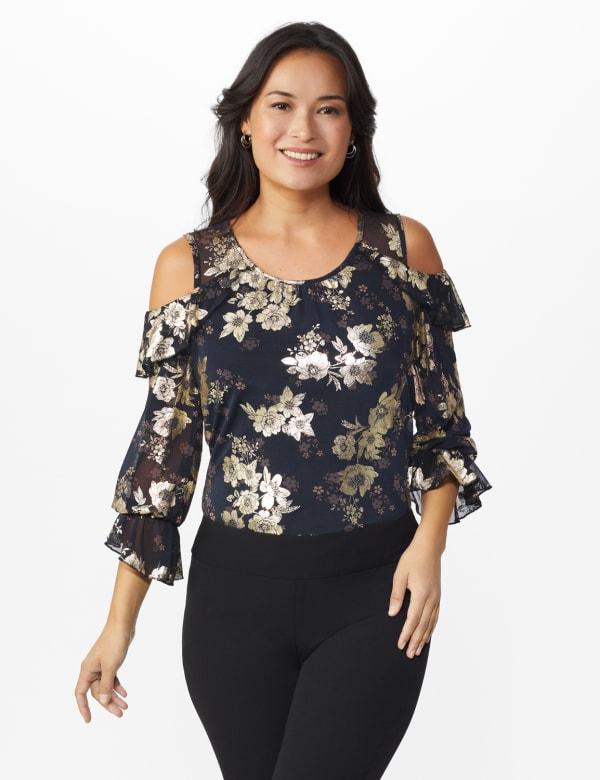 Roz & Ali Gold Floral Cold Shoulder Blouse - Misses - Black - Front