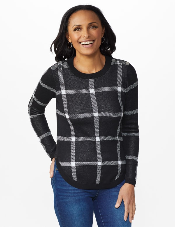 Roz & Ali Button Plaid Curved Hem Pullover Sweater - Black/White/Silver - Front