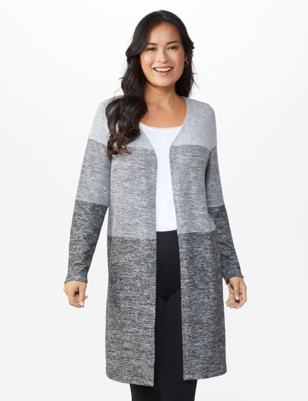 DB Sunday Hacci Sweater Knit Color Block Cardigan - Misses - Grey - Front