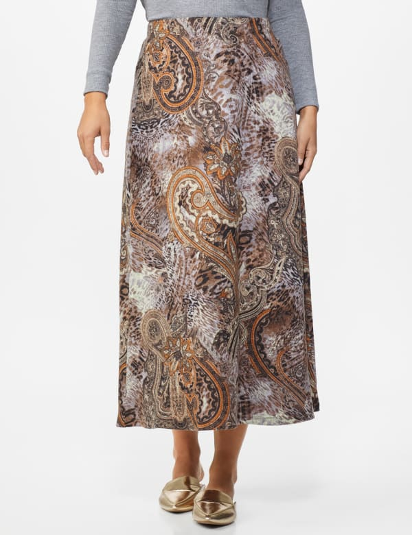 Roz & Ali Printed Hacci A-Line Maxi Skirt - Brown/gold/black - Front