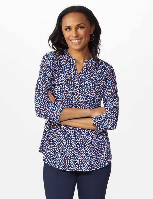 Multi Color Dot Pintuck Popover - Navy/Ivory/Pink - Front