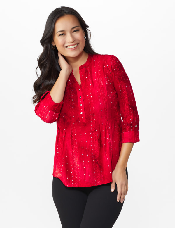 Roz & Ali Tie Dye Sequin Pintuck Popover - Petite - Fireside Red - Front