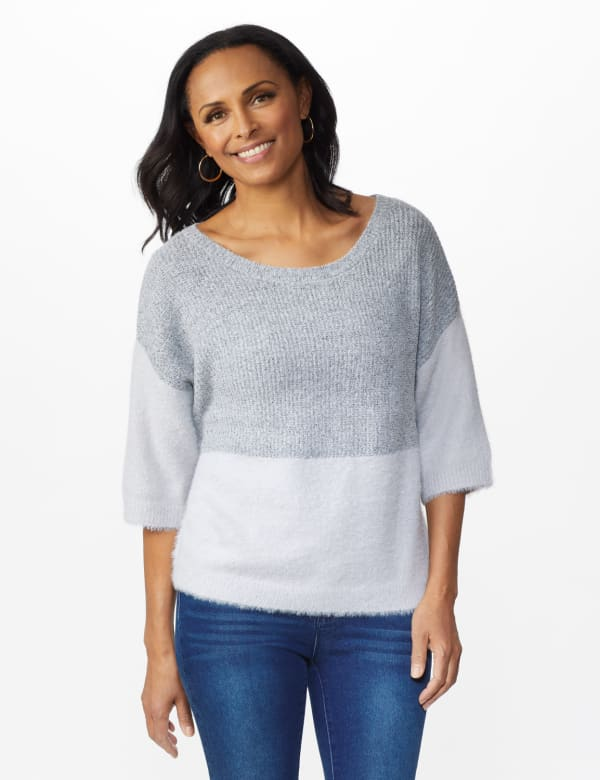 Colorblock Eyelash Pullover Sweater - Grey Combo - Front