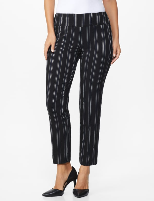 Pull on Stripe Millenium Ankle Pant - Black/Navy - Front