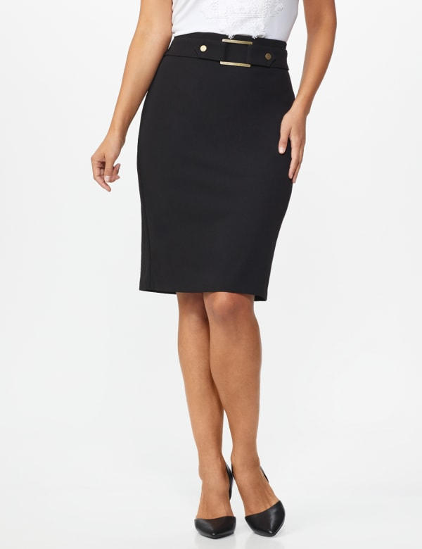 Pencil Skirt with Hardware Trims and Tab Detail - Black - Front