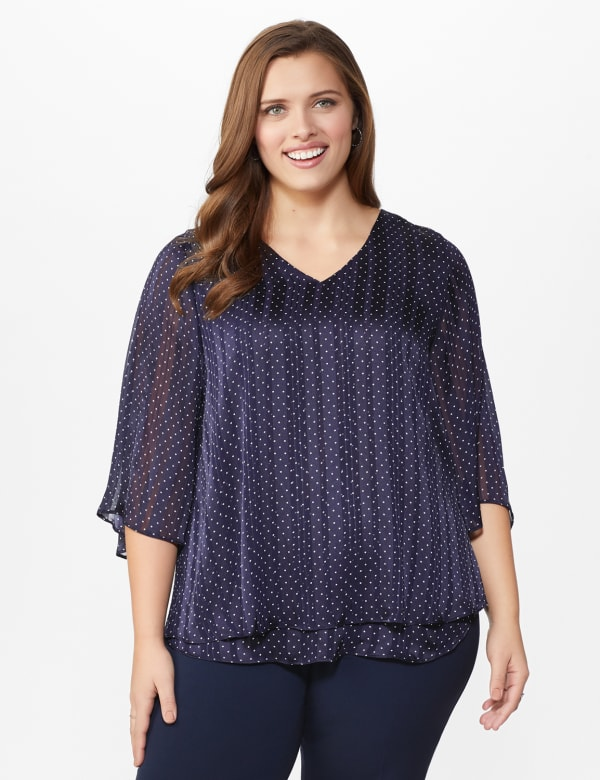 Roz & Ali Dot Fly Away Back Blouse - Plus - Navy/White - Front