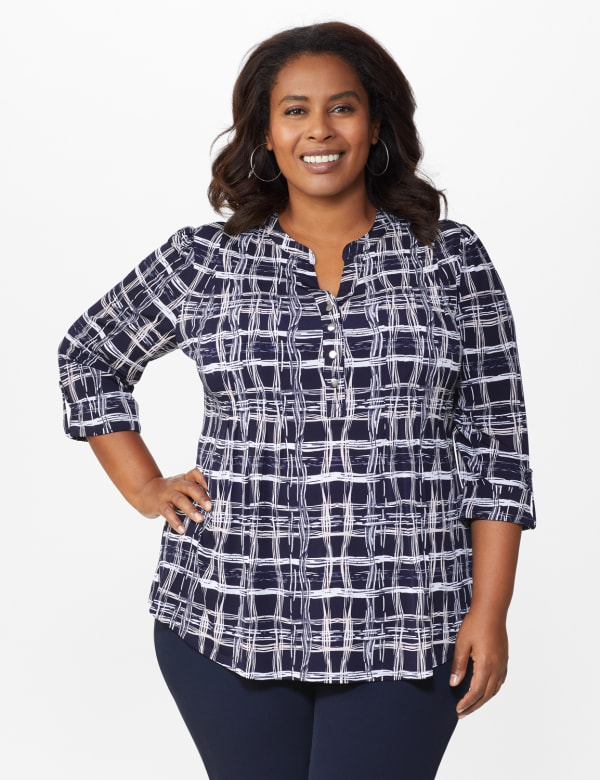 Roz & Ali Plaid Pintuck Knit Popover - Plus -Navy - Front