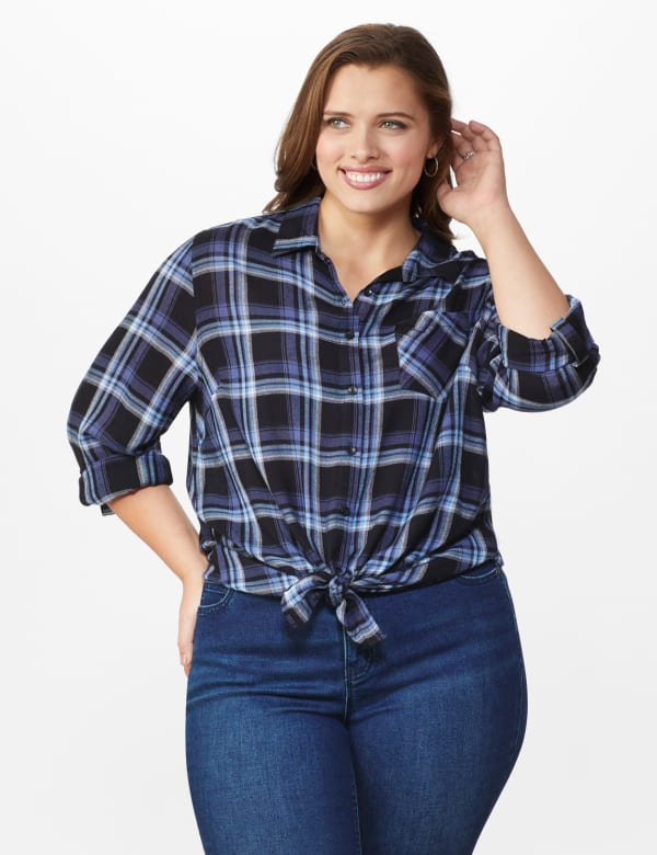 """Denim Friendly Plaid """"To Tie Or Not To Tie"""" Shirt  - Plus - Blue - Front"""
