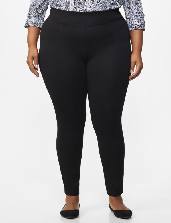 Ponte Pull on Legging with Seam Detail - Plus - Black - Front