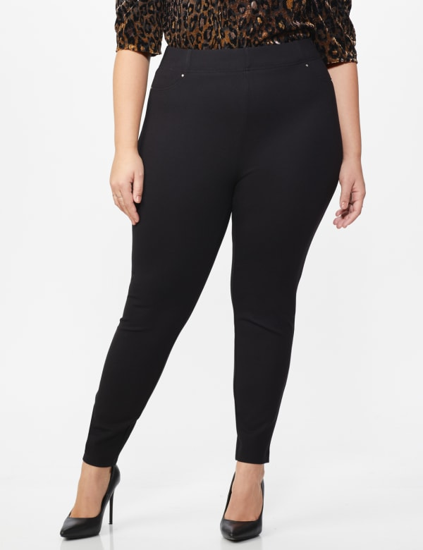 Ponte Pull on Legging with Faux Pockets and Rivet Trim  - Plus - Black - Front