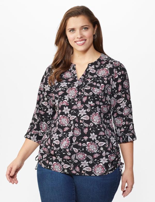 Roz & Ali Floral Side Tie Popover Blouse - Plus - Black/Mauve - Front