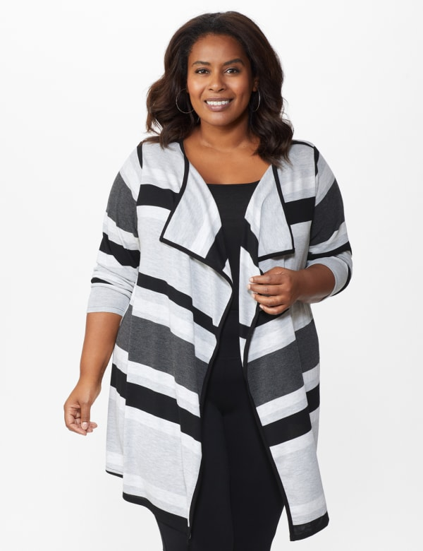 DB Sunday Hacci Sweater Knit Stripe Cardigan - Plus -Multi - Front