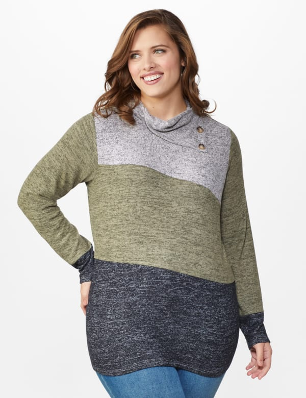 DB Sunday Color Block Hacci Cowl Neck Sweater Knit Top - Multi - Front