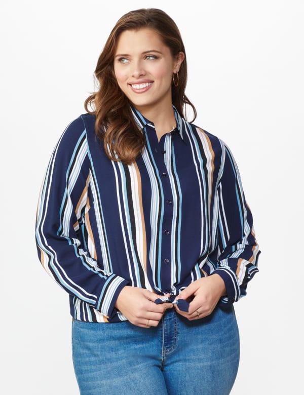 Westport Rayon Stripe Button Front Shirt - Plus - Blue - Front