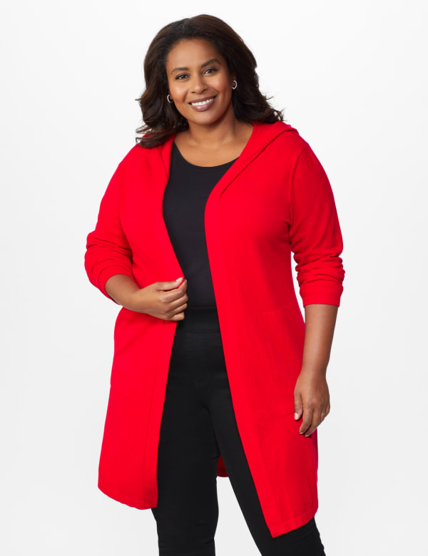 Roz & Ali Crisscross Back Sweater Duster - Plus -Red - Front