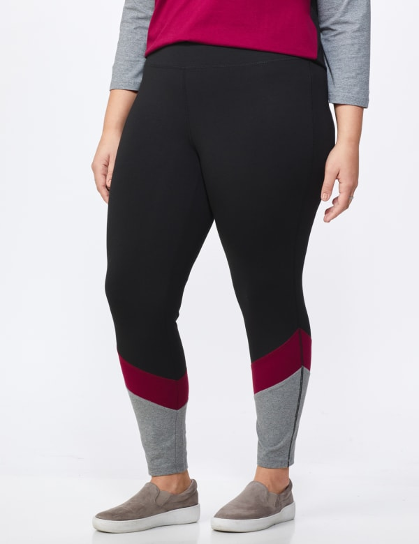 DB Sunday Colorblock Legging - Plus -Black/Burgundy - Front