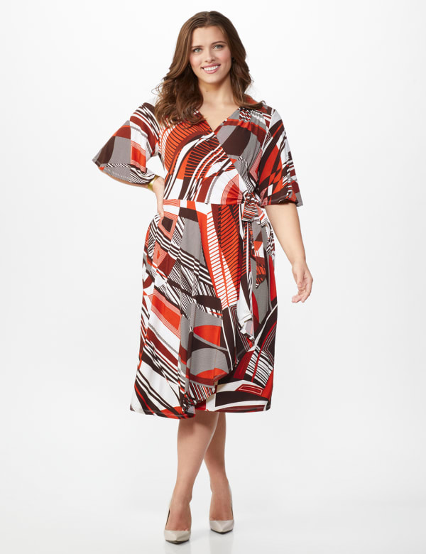 Modern Wrap Dress - Plus - Rust - Front