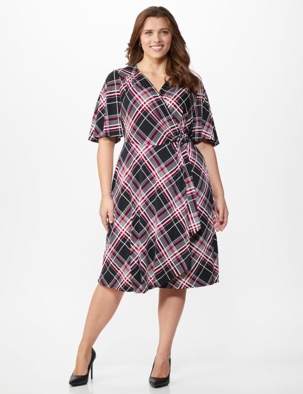 Classic Plaid  Faux Wrap Dress - Plus - Black - Front